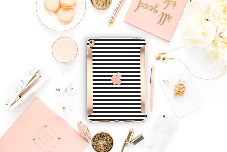 new arrival f63e6 82a22 iPad Black Stripes Kate Spade Inspired Rose Gold Apple Smart Keyboard  compatible Hard . iPad Air 10.5