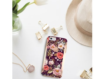 iPhone 8 Case iPhone 8 Plus Case iPhone X Midnight Floral Medley with Rose Gold Detailing  Hard Case Otterbox Symmetry