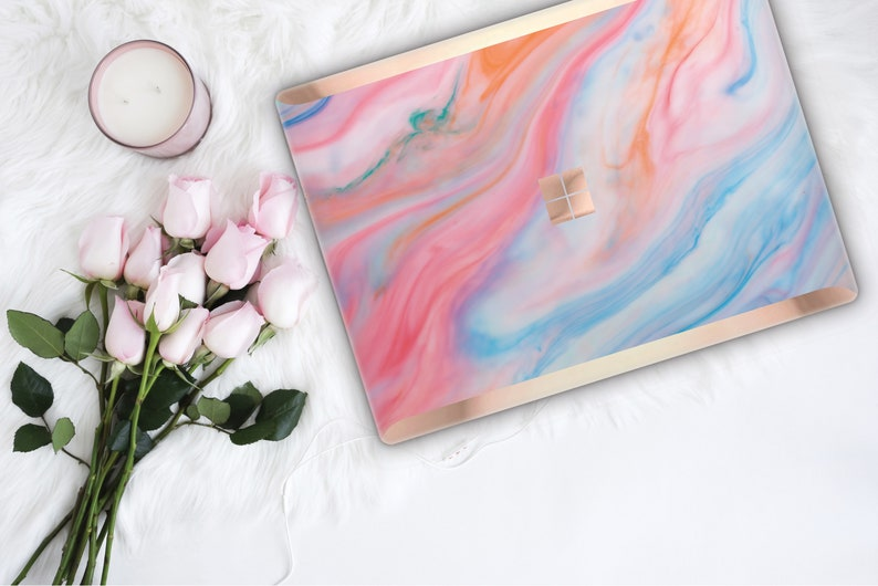 ae745136f6e8a Pastel Marble and Rose Gold Edge Vinyl Skin Microsoft Surface Book 2 ,  Surface Laptop 2 , Surface Pro 6 . Surface Go . Monogram