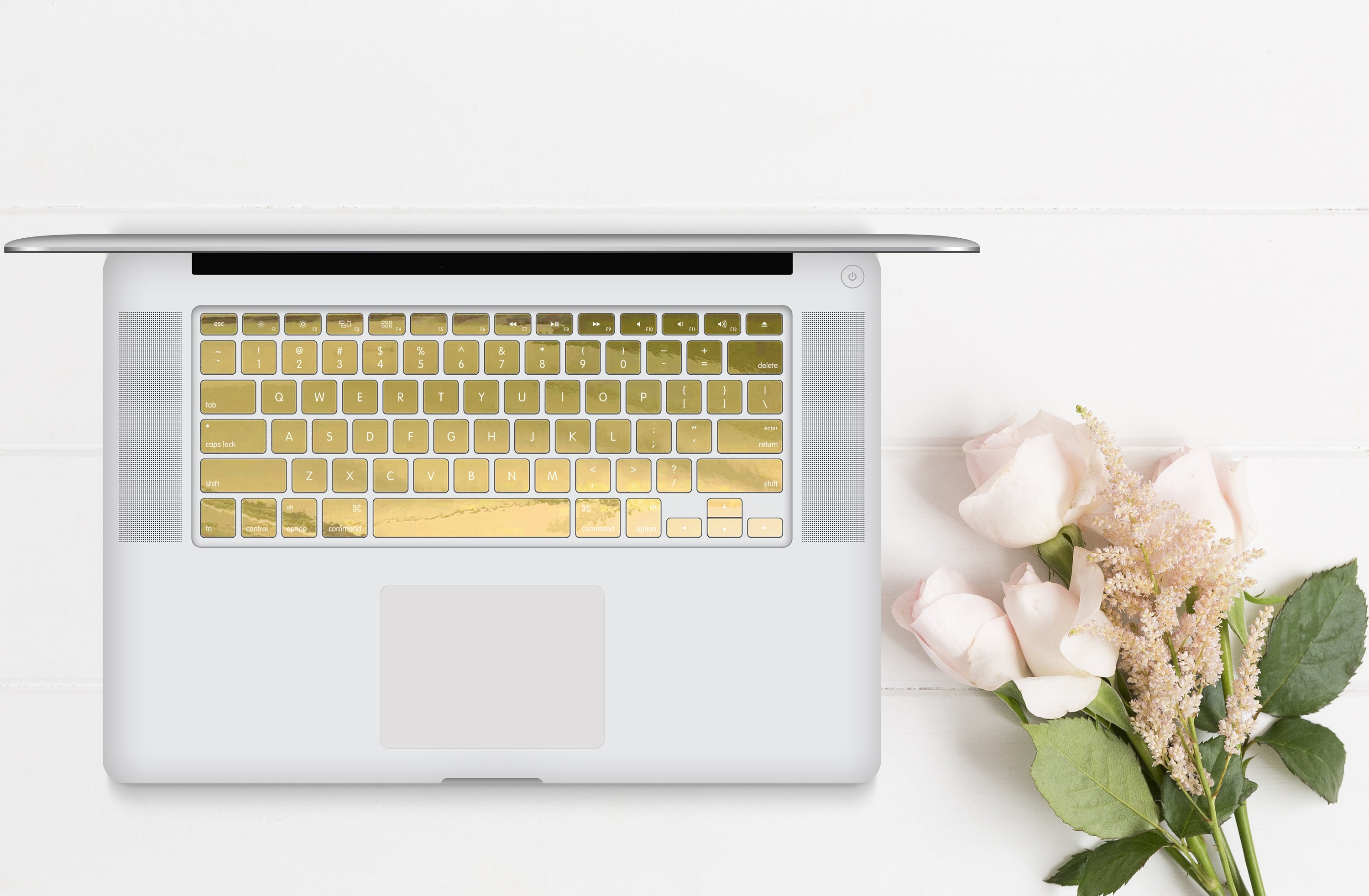 Gold Chrome Keyboard Key   Keycal   Macbook Pro 13 Case