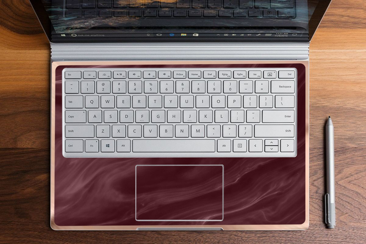 Burgundy and Rose Gold Edge Vinyl Skin Microsoft Surface