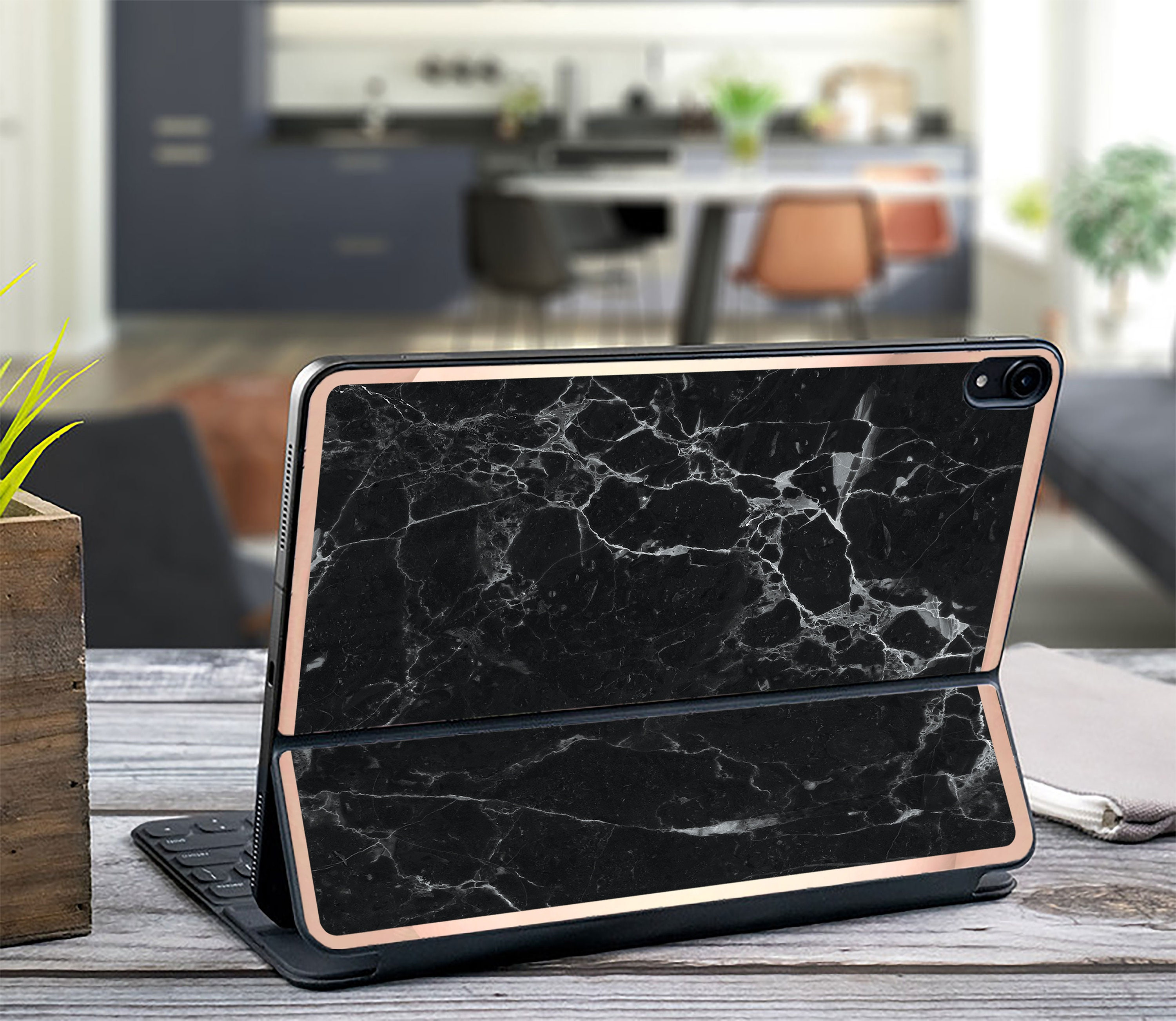 Black Marble and Rose Gold Vinyl Skin Decal - Apple Smart