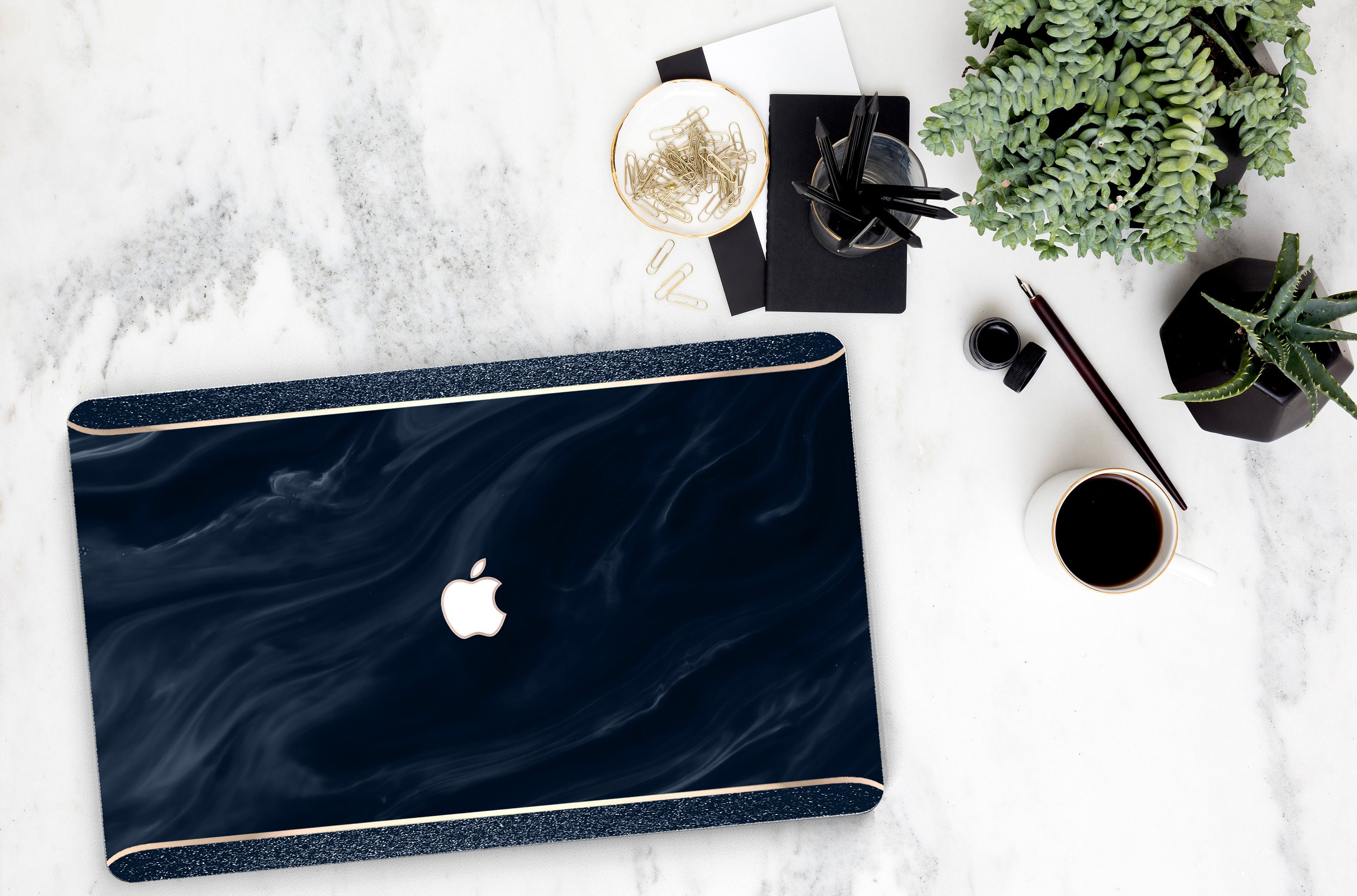 new styles b22c9 b8742 Navy Blue Swirl Marble and Navy Sparkle Edge . Macbook Pro 13 ...