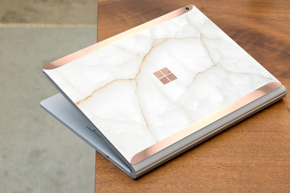 White Stone Marble And Rose Gold Edge Vinyl Skin Microsoft