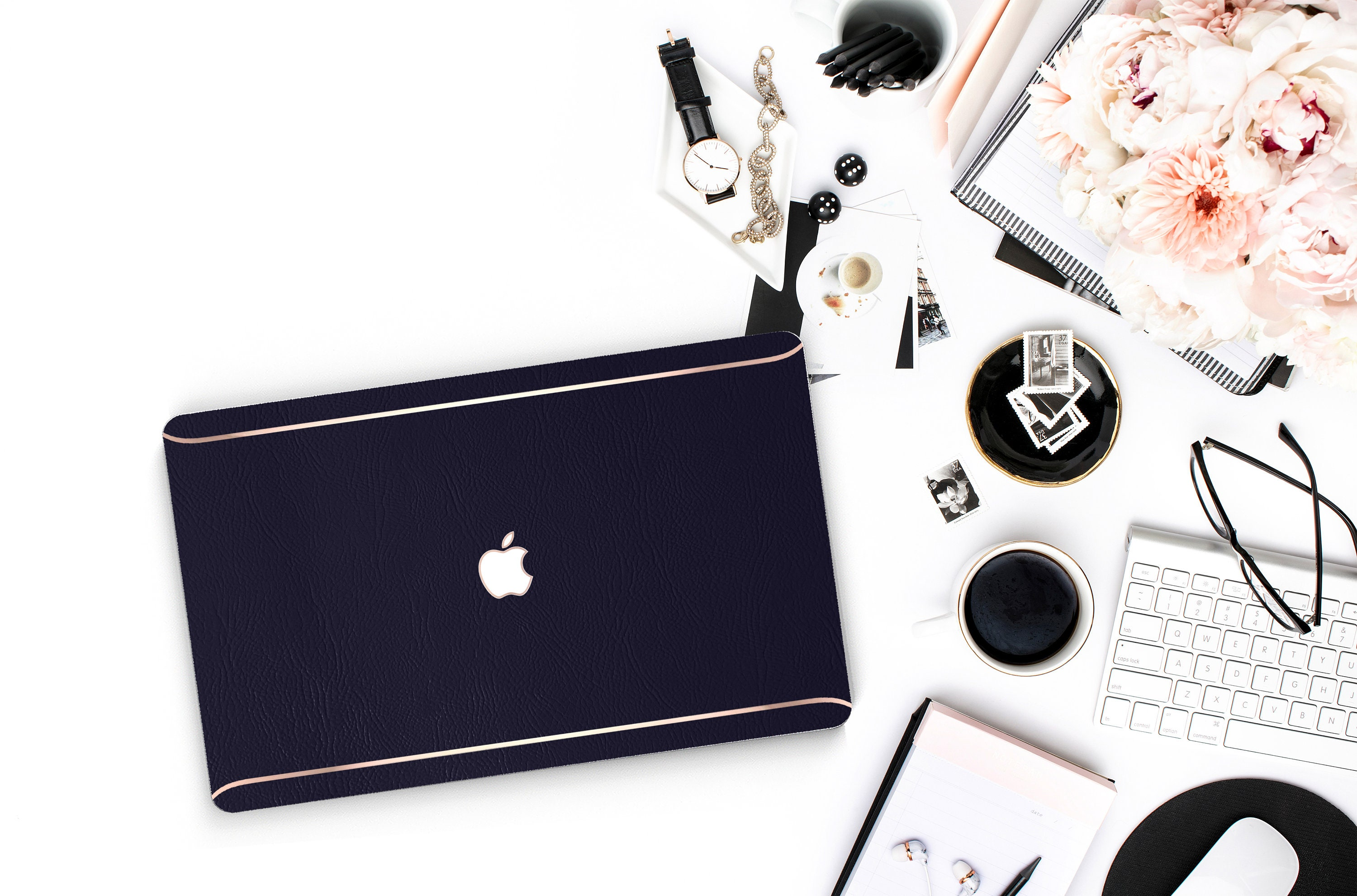 on sale ffaee b66fb Leather Navy Blue and Thin Rose Gold Accents Macbook Hard Case ...