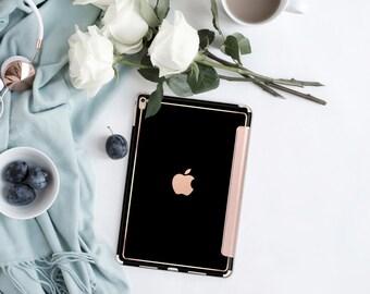 iPad Case . iPad Pro 10.5 . Simply Black with Rose Gold Smart Cover Hard Case for  iPad mini 4  iPad Pro  New iPad 9.7 2017