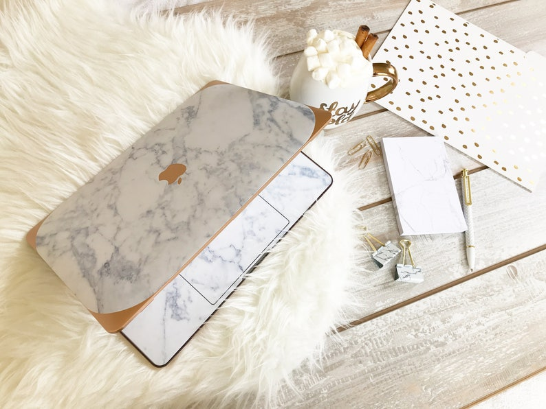 new style e651c eb1c9 Marble Macbook Case Makrana White Marble Rose Gold - Apple Macbook Air /  Macbook Pro Retina / Macbook Pro Touch - New College Edition