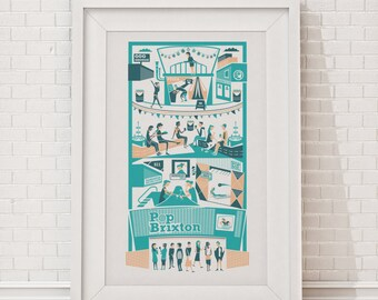 Pop Brixton Print | London illustration | Brixton illustration | South London print | London gift | Housewarming gift | London art