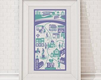 Bow Print | London illustration | East London print | Bow illustration | London wall art | Housewarming gift | Home decor | New home gift