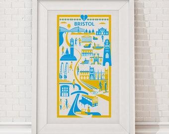 Bristol Print   Bristol illustration   City art print   Travel print   Travel poster   Bristol gift   Bristol art   Bristol poster