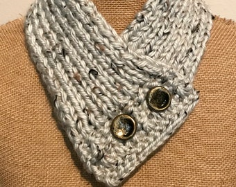 Hand Knitted Buttoned Neck Warmer in Hometown USA Aspen Tweed Item# KNW311185