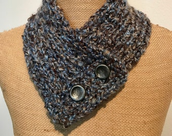 Hand Knitted Buttoned Neck Warmer in Country Loom Landscape Item# KNW320181