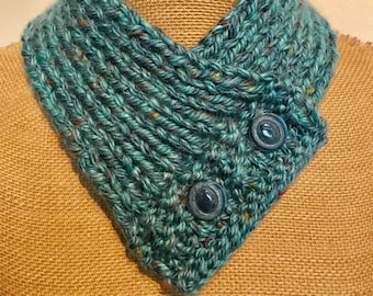 Hand Knitted Buttoned Neck Warmer in Hometown USA Key Largo Tweed Item# KNW320182