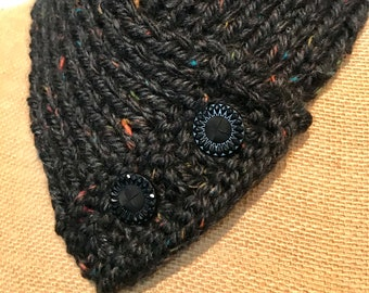 Hand Knitted Buttoned Neck Warmer in Hometown USA Cambridge Tweed Item# KNW320183