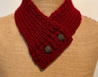 Hand Knitted Buttoned Neck Warmer in Red Item# KNW320185