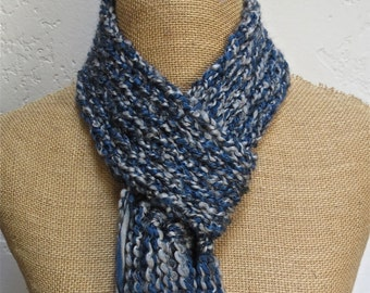 Hand Knitted Looped Scarflette with Fringed Bottom in Homespun Blue Moon Item# KSL21604