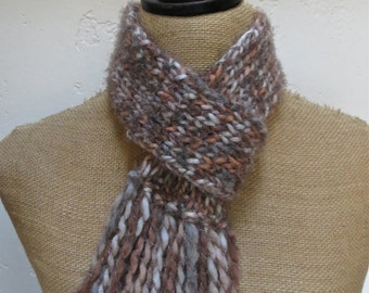 Hand Knitted Loop Scarflette with Fringed Bottom in Cobblestone Item# KSL21603 ***FREE SHIPPING***