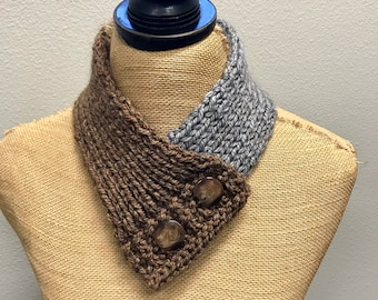 Hand Knitted Buttoned Neck Warmer in Caron Tea Cakes English Breakfast Item# KNW116176 ***FREE SHIPPING***