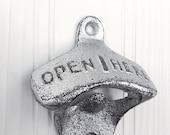 Cast Iron Retro Bottle Opener, Vintage Bottle Opener, Kitchen Decor, Bar ware, Man Cave, Groomsman Gift, Silver Anniversary