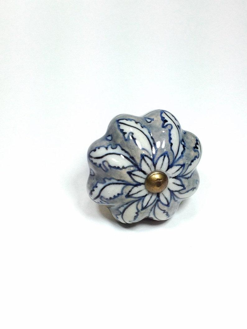 Large Antique Cream and Blue China Style Ceramic Knobs image 0