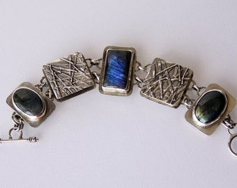 Fused Silver and Labradorite Bracelet
