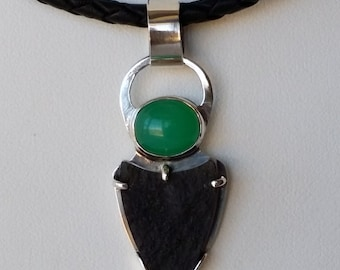Black Jade and Chrysoprase Sterling Silver Necklace