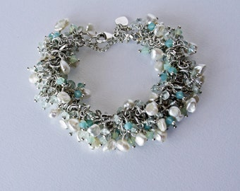 Freshwater Pearl, Opal Crystal and Aquamarine Silver Beach Inspired Bracelet