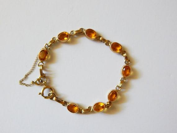 Mid Century Citrine GF Bracelet