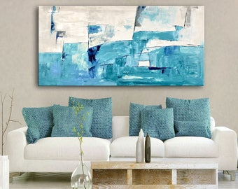 "75"" Large ABSTRACT PAINTING White Blue Turquoise Gray Cream Painting Extra Large Original Canvas Art Modern Painting Wall Art Decor #50C"