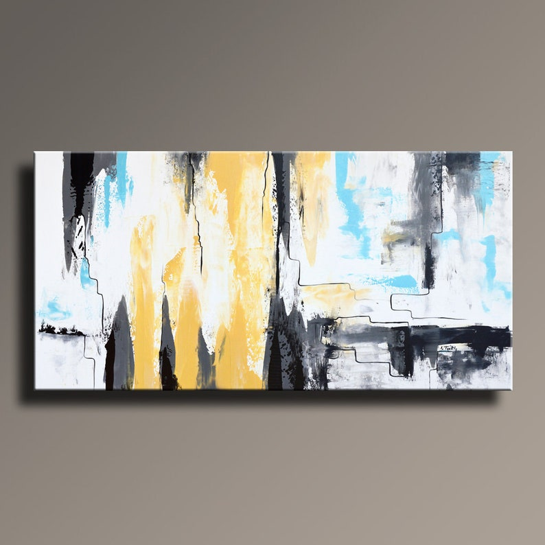 ABSTRACT PAINTING Yellow Gray White Black Blue Painting image 0