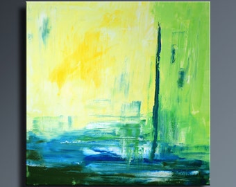 """36"""" ORIGINAL ABSTRACT Yellow Blue Green Painting on Canvas Contemporary Art Colorful Abstract Modern Art wall decor #SQ13"""