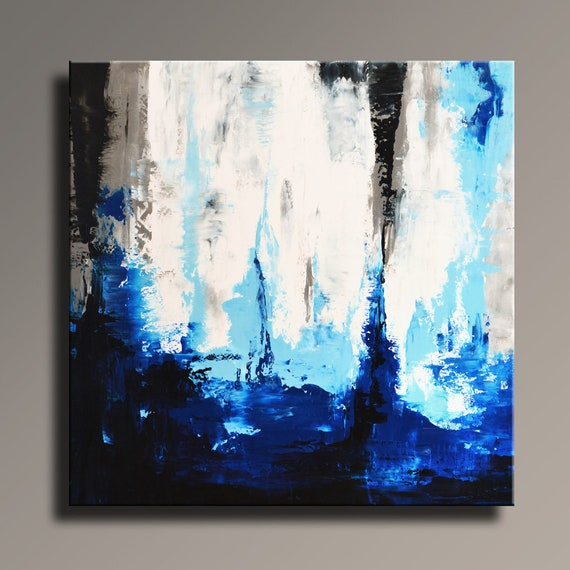 Original Abstract Painting 36 White Gray Blue Black Painting Canvas Art Contemporary Abstract Modern Art Wall Decor Sq05i9