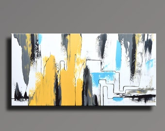 ABSTRACT PAINTING Yellow Gray White Black Blue Painting Original Canvas Art Contemporary Abstract Modern Art 60x30 wall decor #AB19i14L