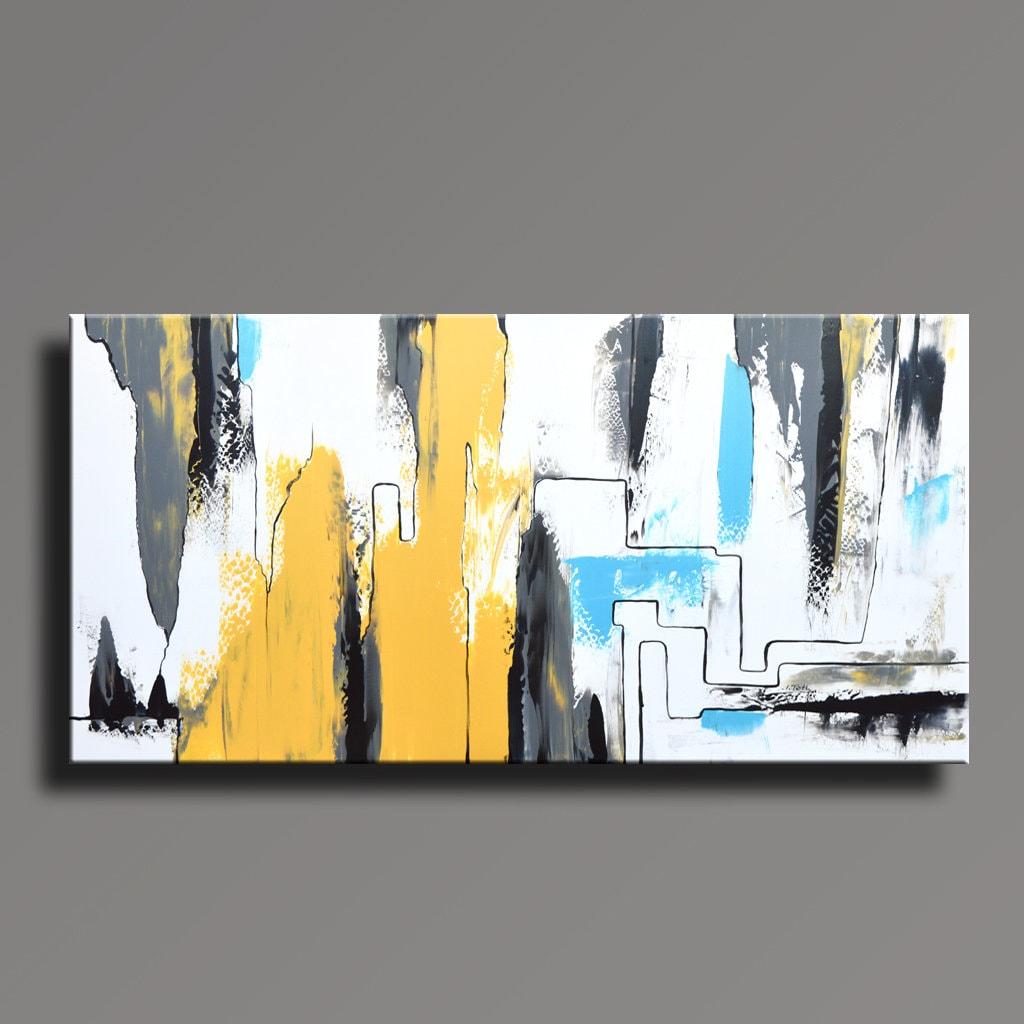 ABSTRAKTE Malerei-gelb grau weiß schwarz blau Malerei Original | Etsy