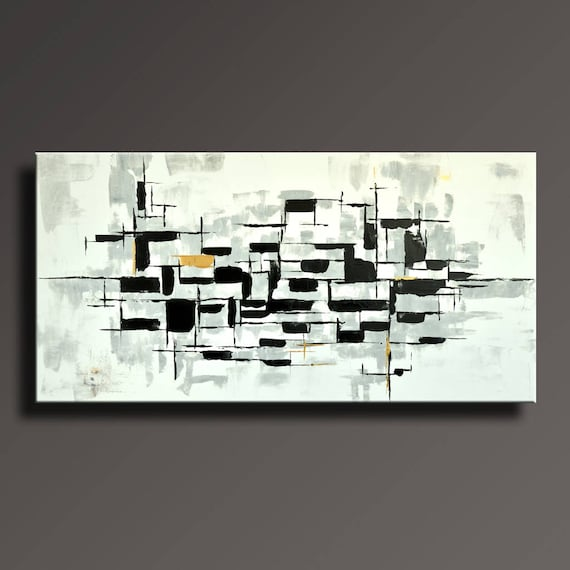 48 Large Original Abstract Painting On Canvas Contemporary Modern Art Black White Gray Gold Wall Art Home Decor Abbw45i2