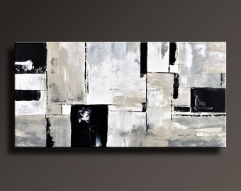 ABSTRACT PAINTING Black White Gray Painting Original Large Canvas Art Contemporary Abstract Modern Art Wall Decor #22Gi2