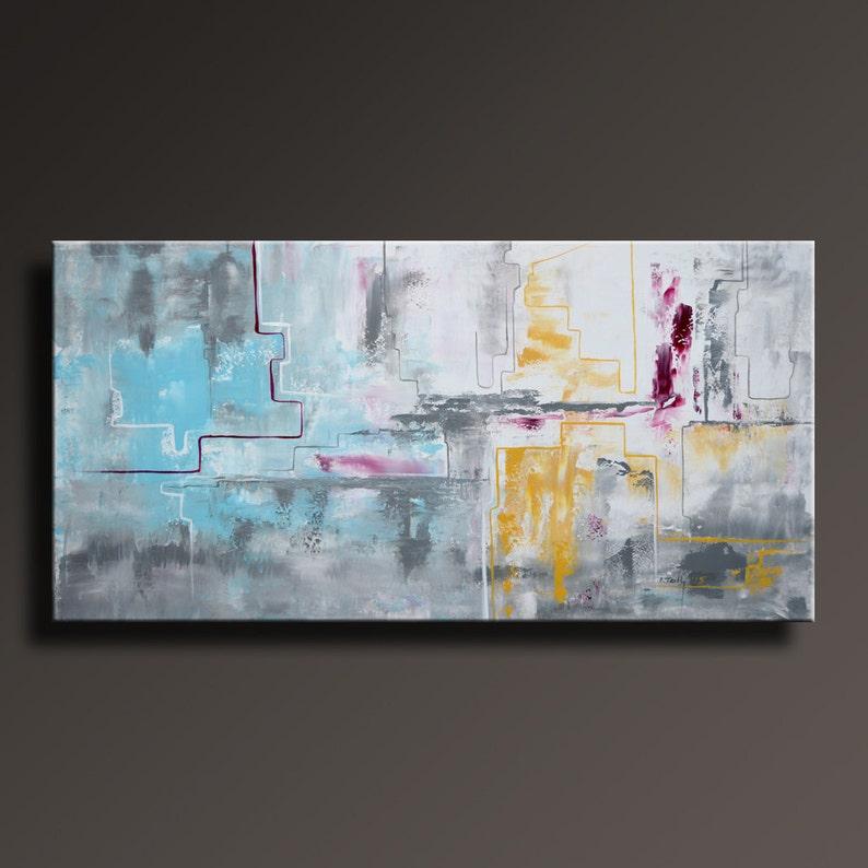 Peinture Abstraite Jaune Gris Blanc Noir Bleu Magenta Peinture Etsy