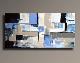 ABSTRACT PAINTING Black White Blue Gray Painting Original Large Canvas Art Contemporary Abstract Modern Art Wall Decor #36Ci2
