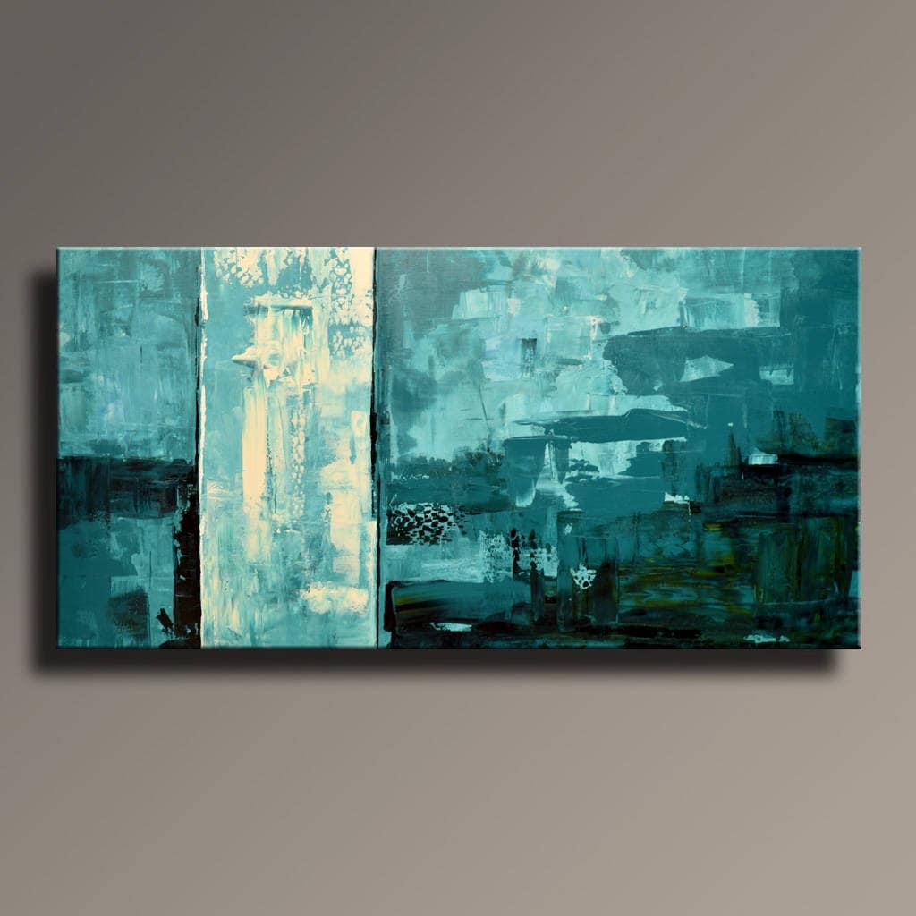 48 abstrakte Petrol blau schwarz grün Malerei auf | Etsy
