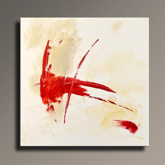 Red Orange White Abstract Art