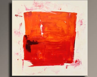 ABSTRACT PAINTING Red Orange White Cream Painting Original Canvas Art Abstract Modern Art 36x36 Wall Decor #AB66SQ