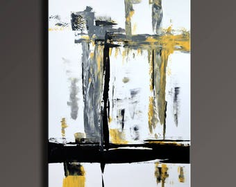 Large ORIGINAL ABSTRACT Yellow Gray Black White Painting Canvas Art Abstract Modern Wall Art 48x32 Office decor #YG12i6