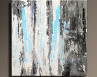 """36"""" ORIGINAL ABSTRACT White Gray Blue Black Painting on Canvas Contemporary Abstract Modern Art Rustic wall decor #SQ04"""