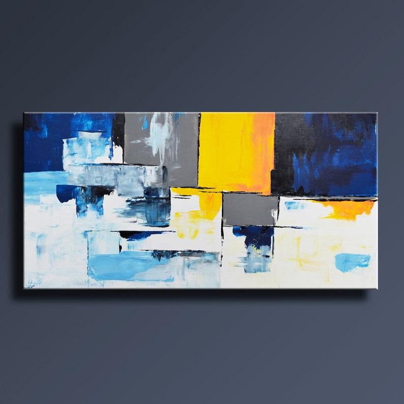 Peinture Abstraite Bleu Jaune Gris Blanc Peinture Original Etsy