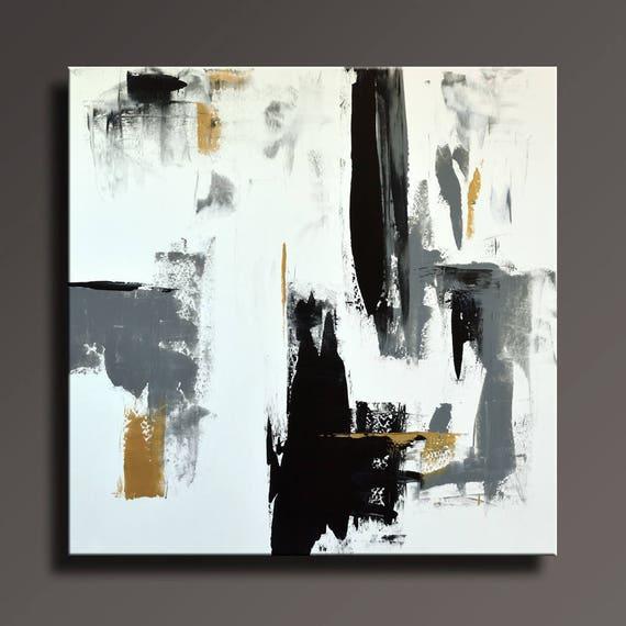 TABLEAU abstrait noir blanc gris or peinture toile Art abstrait moderne Art  contemporain mural 36 x 36 décor #47WBGi1