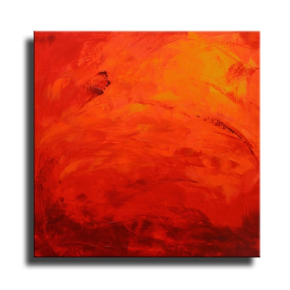 Abstract Painting Red Orange Yellow Painting Original Canvas Art Abstract Modern Art 36x36 Wall Art Home Decor 26fc