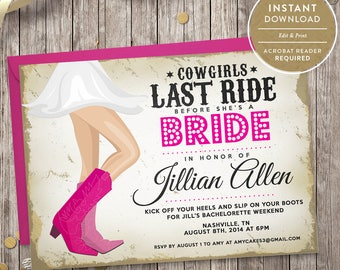 country bachelorette party invitation instant download
