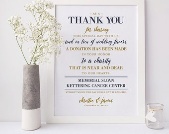 Wedding Thank You - Donation Sign (Digital file)