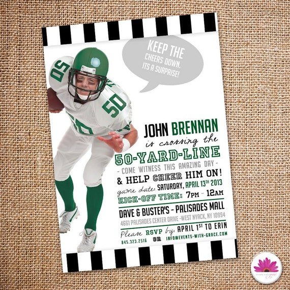 Surprise 50th Football Theme Birthday Party Invitation