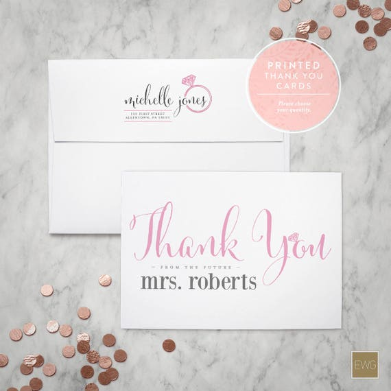 Printed Thank You Cards Bridal Shower Thank You From The Etsy